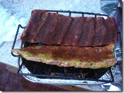 Beef ribs on rib rack